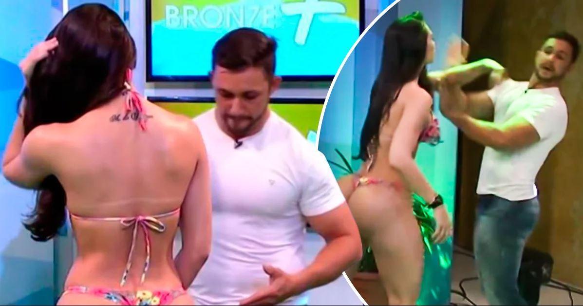 Massaggio troppo hot in diretta tv: la modella Rayssa Teixeira reagisce