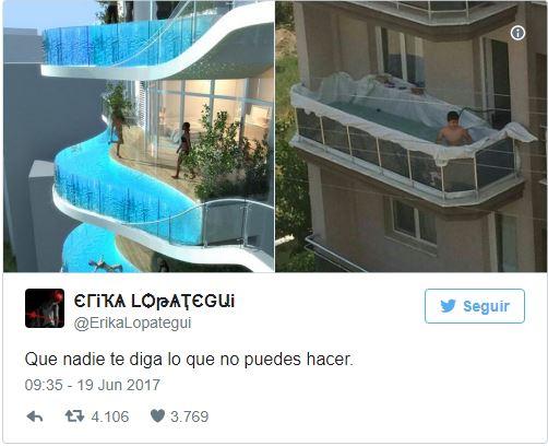 Una piscina improvvisata sul balcone provoca tanti meme e calcoli ...