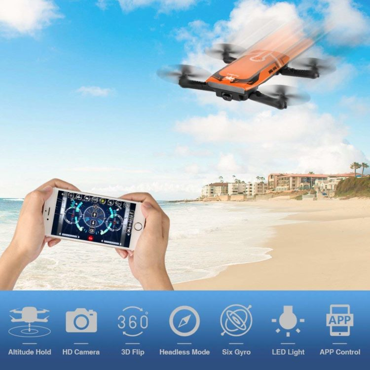 Mini drone pieghevole con telecamera Wifi FPV Live Video