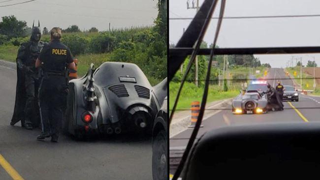 L'incredibile scena del sosia di Batman fermato per eccesso di velocità con la batmobile