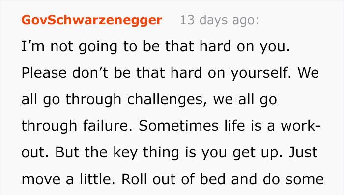 La risposta di Arnold Shwarzennegger al suo fan depresso diventa virale