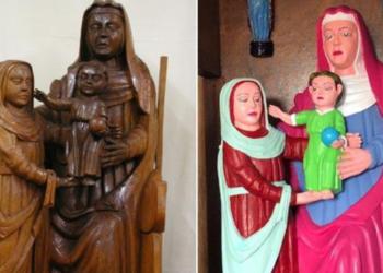Parrocchiana spagnola colora e rovina le statue antiche del 1400