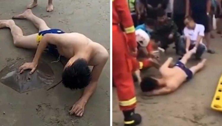 Una manta gigante si è attaccata al pene di un ragazzo mentre nuotava in mare