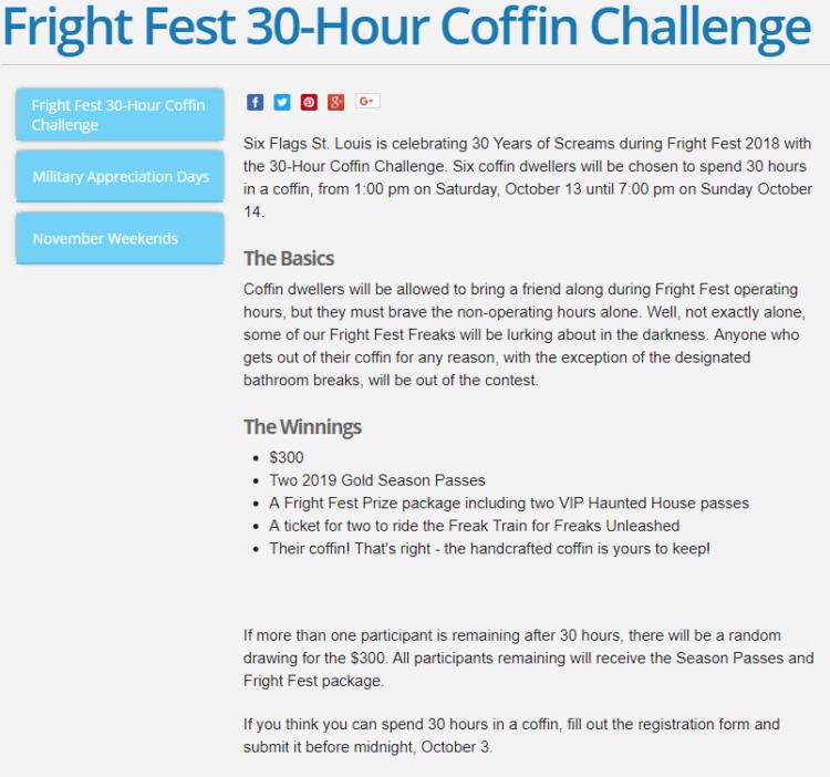 30 ore chiusi in una bara per vincere 300 $, la sfida organizzata dal parco tematico di St. Louis
